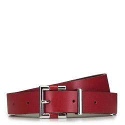 Women's leather belt with modern buckle, red, 91-8D-303-3-M, Photo 1