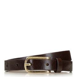 Women's leather belt with golden buckle, brown, 91-8D-307-4-XL, Photo 1