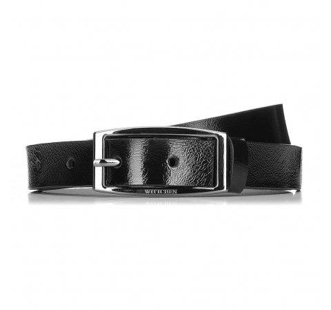 skórzany lakierowany Pasek damski, czarny, 91-8D-308-1-L, Zdjęcie 1