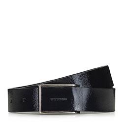 Women's patent leather belt, black, 91-8D-310-1-L, Photo 1
