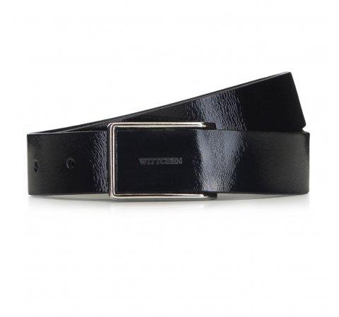 Damski pasek ze skóry lakierowanej z pełną klamrą, czarny, 91-8D-310-1-2X, Zdjęcie 1