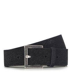 Women's suede belt with glittery texture, black, 91-8D-311-1-M, Photo 1