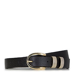 Women's skinny belt with decorative buckle, black, 91-8D-312-1-M, Photo 1