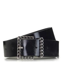 Women's leather belt with decorative buckle, black, 91-8D-314-1-L, Photo 1