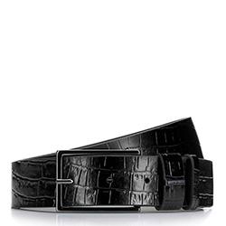 Women's leather belt with textured crocodile print, black, 92-8D-308-1-M, Photo 1