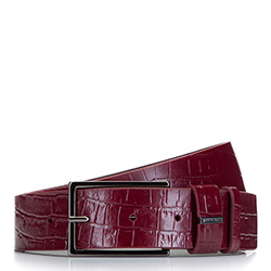 Women's leather belt with textured crocodile print, burgundy, 92-8D-308-3-2X, Photo 1