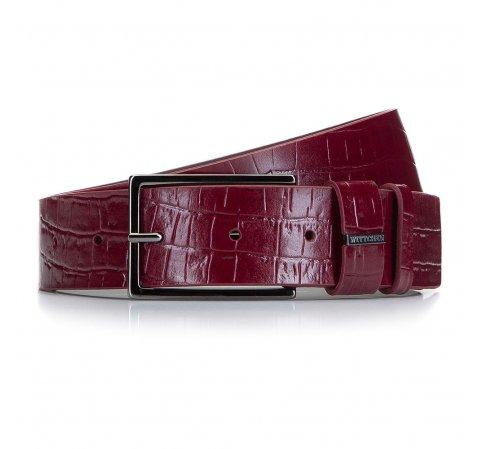 Damski pasek ze skóry z krokodylą fakturą, bordowy, 92-8D-308-3-XL, Zdjęcie 1