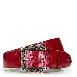 Damski pasek skórzany lakierowany z dużą klamrą, czerwony, 92-8D-314-3-S, Zdjęcie 1