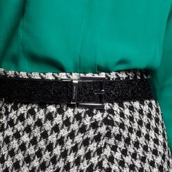 Damski pasek zamszowy z brokatowym połyskiem, czarny, 91-8D-311-1-L, Zdjęcie 1