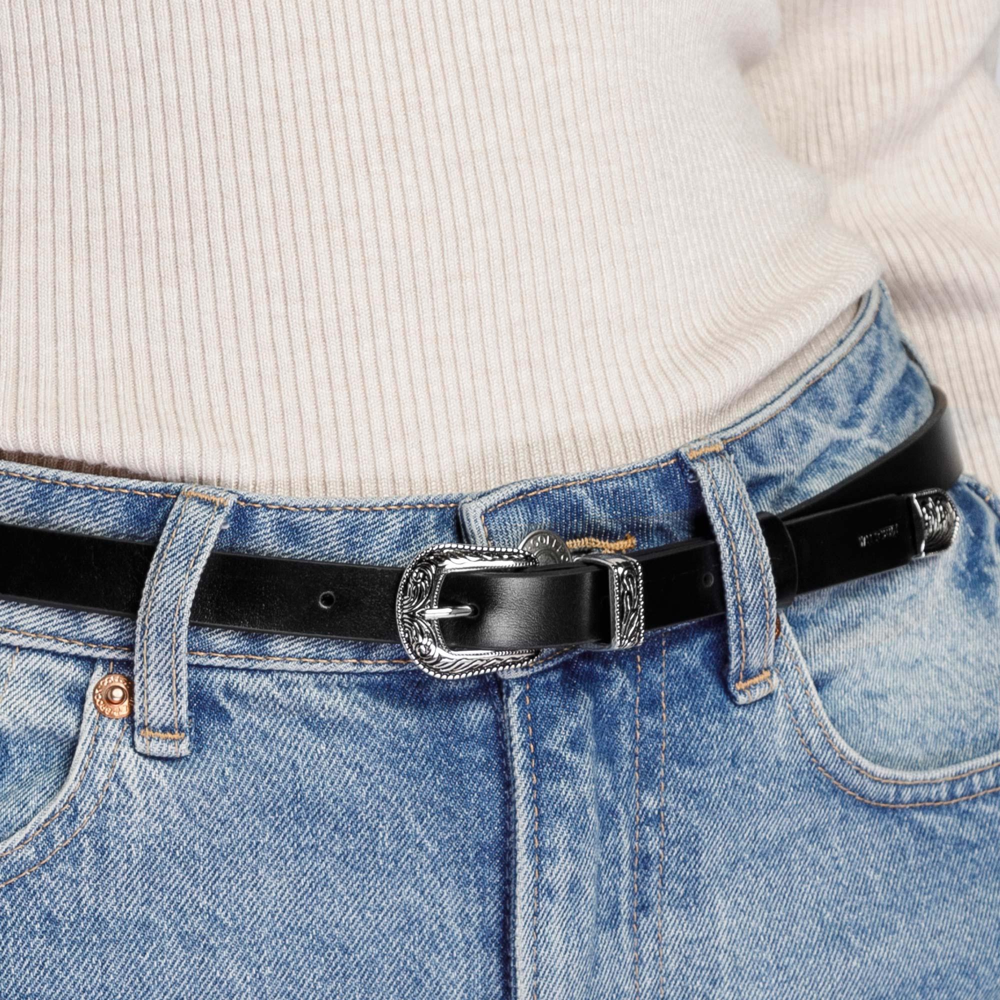 Decorative leather belt, black, 92-8D-304-1-XL, Photo 1