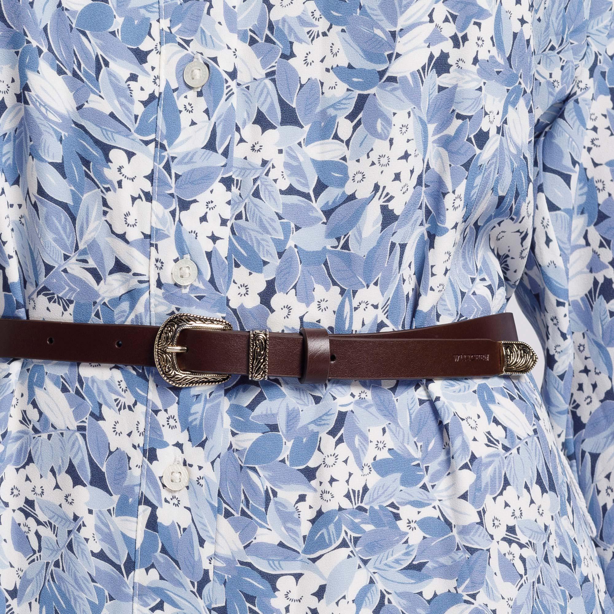 Damski pasek skórzany z ornamentem, brązowy, 92-8D-304-4-S, Zdjęcie 1