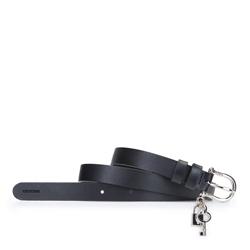Damski pasek skórzany z kłódką, czarny, 92-8D-307-1-M, Zdjęcie 1