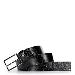 Damski pasek ze skóry z krokodylą fakturą, czarny, 92-8D-308-1-XL, Zdjęcie 1
