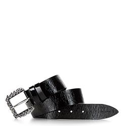 Women's patent leather belt, black, 92-8D-314-1-2X, Photo 1