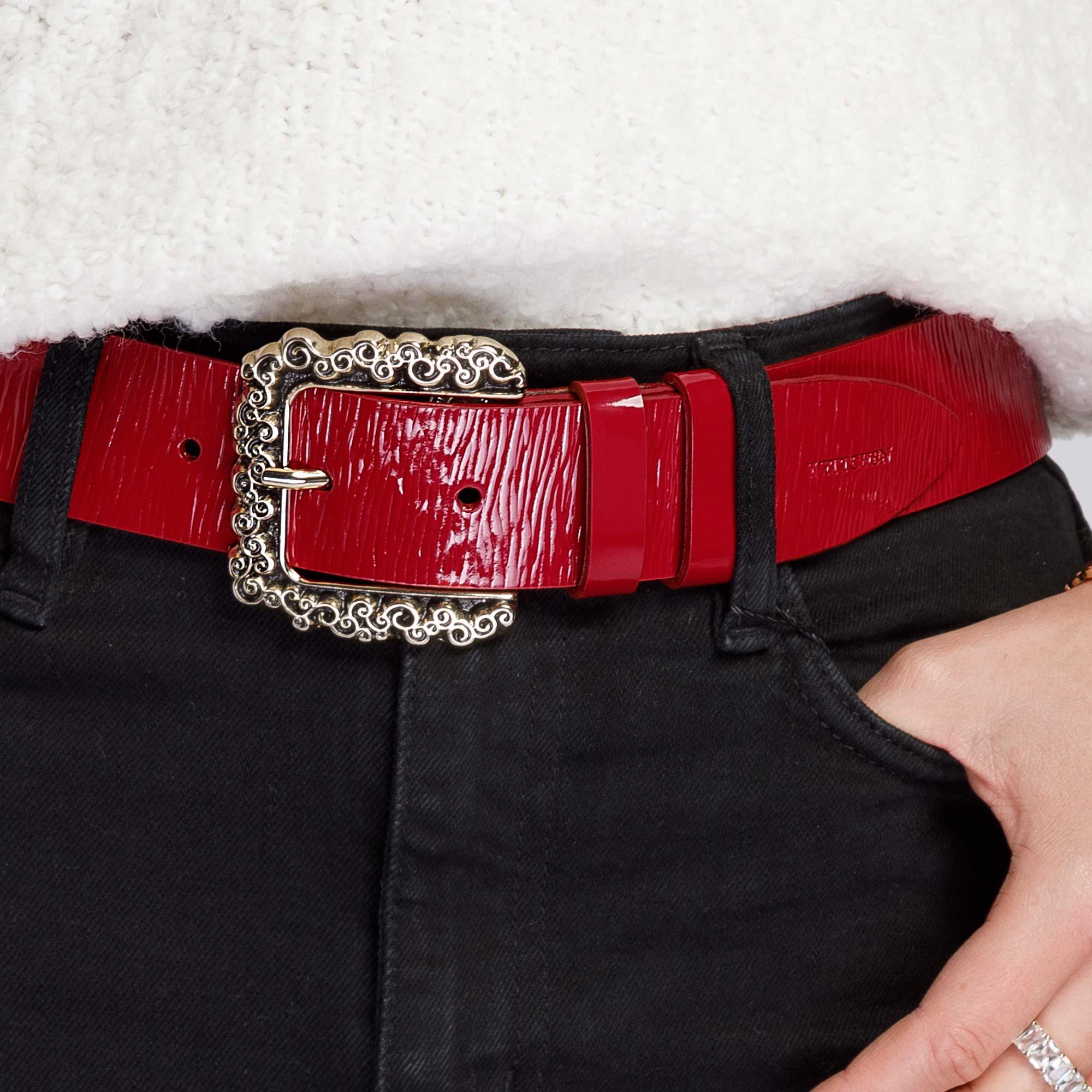 Damski pasek skórzany lakierowany z dużą klamrą, czerwony, 92-8D-314-3-L, Zdjęcie 1