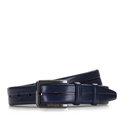 Men's belt, navy blue, 86-8M-327-7-10, Photo 1