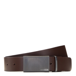 Men's leather belt with plate buckle, brown, 91-8M-309-4-12, Photo 1