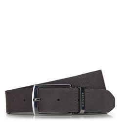 Men's leather reversible belt with a checkered-embossed texture., black-brown, 91-8M-311-4-11, Photo 1