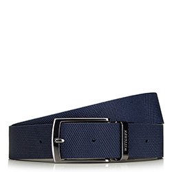 Men's leather reversible belt with a checkered-embossed texture., black-navy blue, 91-8M-311-7-10, Photo 1