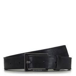 Męski pasek skórzany z prostokątną klamrą, czarny, 91-8M-312-1-90, Zdjęcie 1