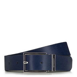 Men's leather belt with rectangular buckle, navy blue, 91-8M-321-7-90, Photo 1