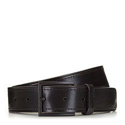 Men's leather belt with matte buckle, black, 91-8M-323-1-12, Photo 1