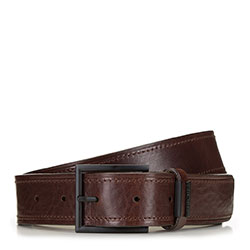 Men's leather belt with matte buckle, brown, 91-8M-323-4-11, Photo 1