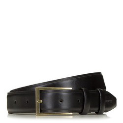 Men's leather belt with a brass buckle, black, 91-8M-328-1-10, Photo 1