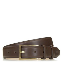 Men's leather belt with a brass buckle, brown, 91-8M-328-4-12, Photo 1
