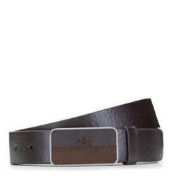 Leather belt with plate buckle, brown, 92-8M-351-4-11, Photo 1