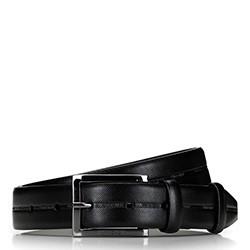 Męski pasek skórzany ze szlaczkiem w logo, czarny, 92-8M-502-1-10, Zdjęcie 1