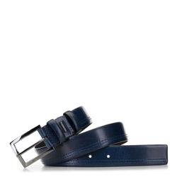 Men's leather belt, navy blue, 91-8M-326-7-10, Photo 1