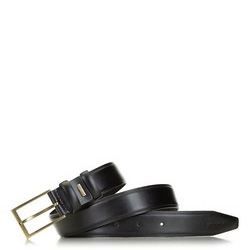 Men's leather belt with a brass buckle, black, 91-8M-328-1-12, Photo 1