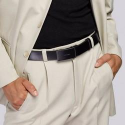 Męski pasek ze skóry z pełną automatyczną klamrą, czarny, 92-8M-350-1-11, Zdjęcie 1