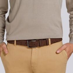 Męski pasek ze skóry welurowej tłoczony, brązowy, 92-8M-365-4-12, Zdjęcie 1