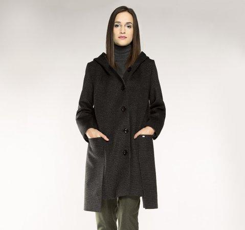 Płaszcz damski, szary, 85-9W-100-8-2X, Zdjęcie 1