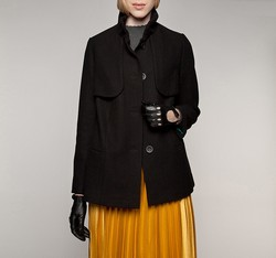 Women's coat, black, 85-9W-101-1-M, Photo 1