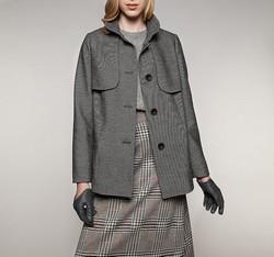 Płaszcz damski, czarno - biały, 85-9W-101-W-L, Zdjęcie 1