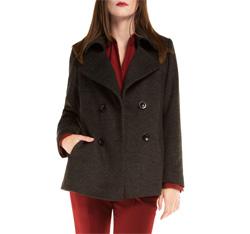 Płaszcz damski, czarno - szary, 85-9W-104-8-L, Zdjęcie 1