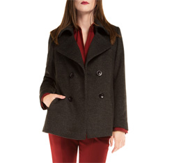 Women's coat, black-grey, 85-9W-104-8-M, Photo 1