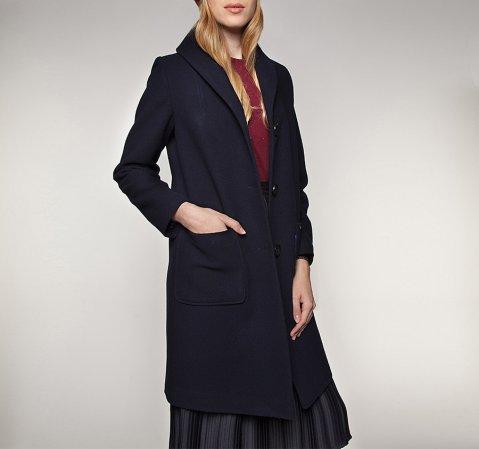 Płaszcz damski, granatowy, 85-9W-108-7-XL, Zdjęcie 1