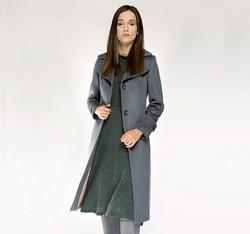 Płaszcz damski, szary, 85-9W-109-8-2X, Zdjęcie 1