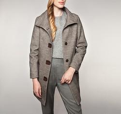Płaszcz damski, Brązowy, 85-9W-110-4-2X, Zdjęcie 1