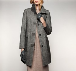 Płaszcz damski, szary, 85-9W-110-8-2X, Zdjęcie 1
