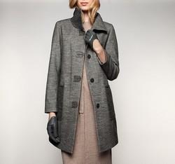 Płaszcz damski, szary, 85-9W-110-8-L, Zdjęcie 1