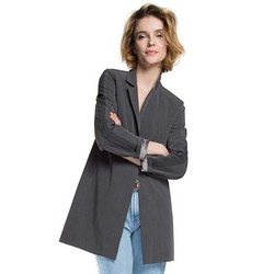 Women's coat, grey, 86-9W-101-8-S, Photo 1