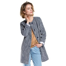 Women's coat, navy blue-blue, 86-9W-102-7-2XL, Photo 1