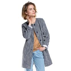 Płaszcz damski, granatowo - niebieski, 86-9W-102-7-L, Zdjęcie 1