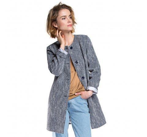 Płaszcz damski, granatowo - niebieski, 86-9W-102-7-M, Zdjęcie 1