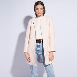 Płaszcz damski, biało-różowy, 86-9W-105-9-M, Zdjęcie 1
